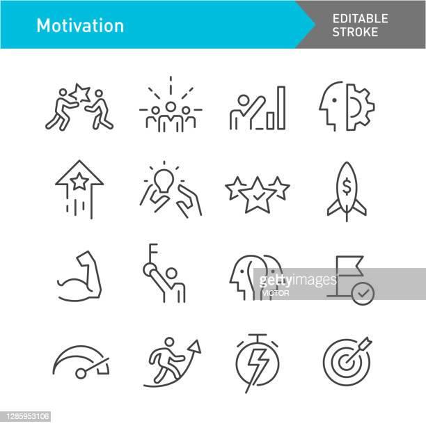 motivation icons - line series - editable stroke - american influencer awards stock illustrations