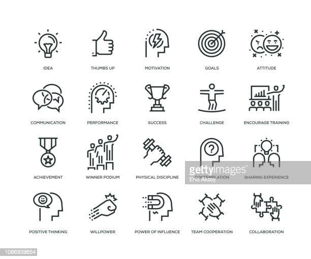 motivation icons - line series - employee stock illustrations