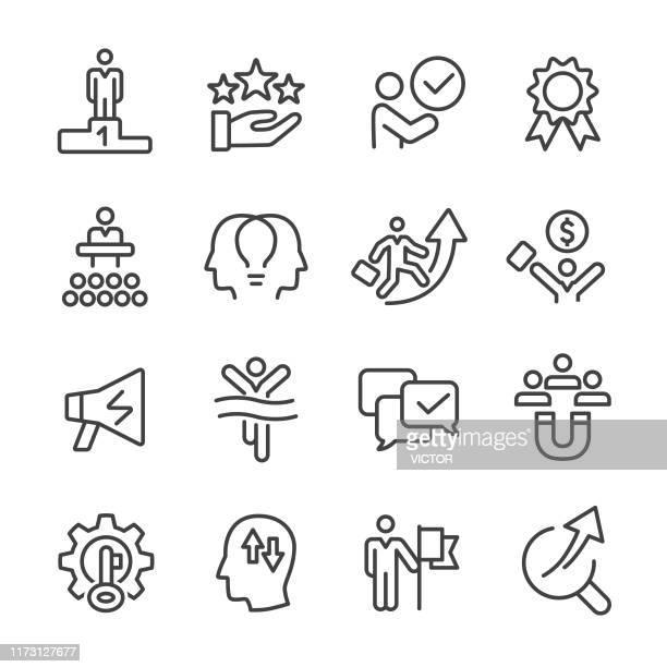 motivation icons - line series - achievement stock illustrations