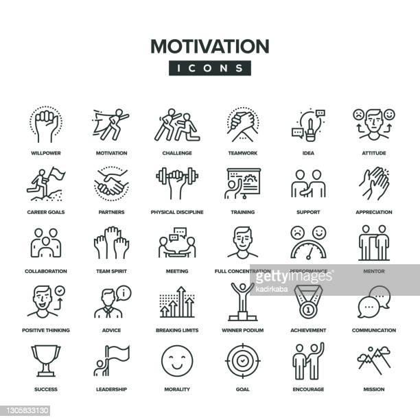 illustrazioni stock, clip art, cartoni animati e icone di tendenza di set di icone linea motivazione - reggere
