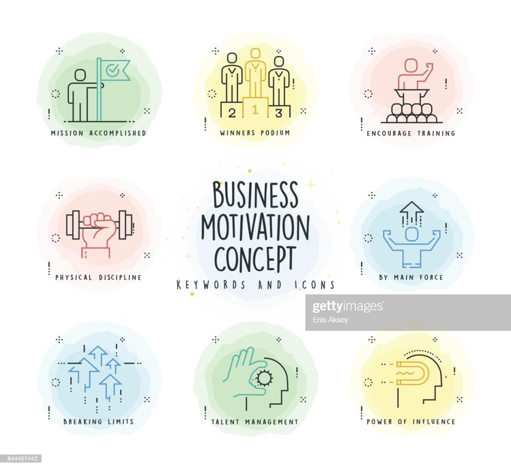 Motivation Line Icon Set with Watercolor Patch : stock illustration