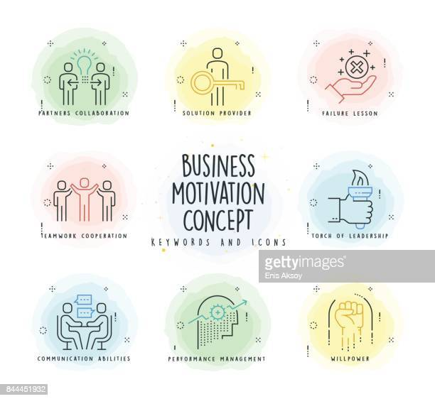 motivation line icon set with watercolor patch - motivation stock illustrations, clip art, cartoons, & icons