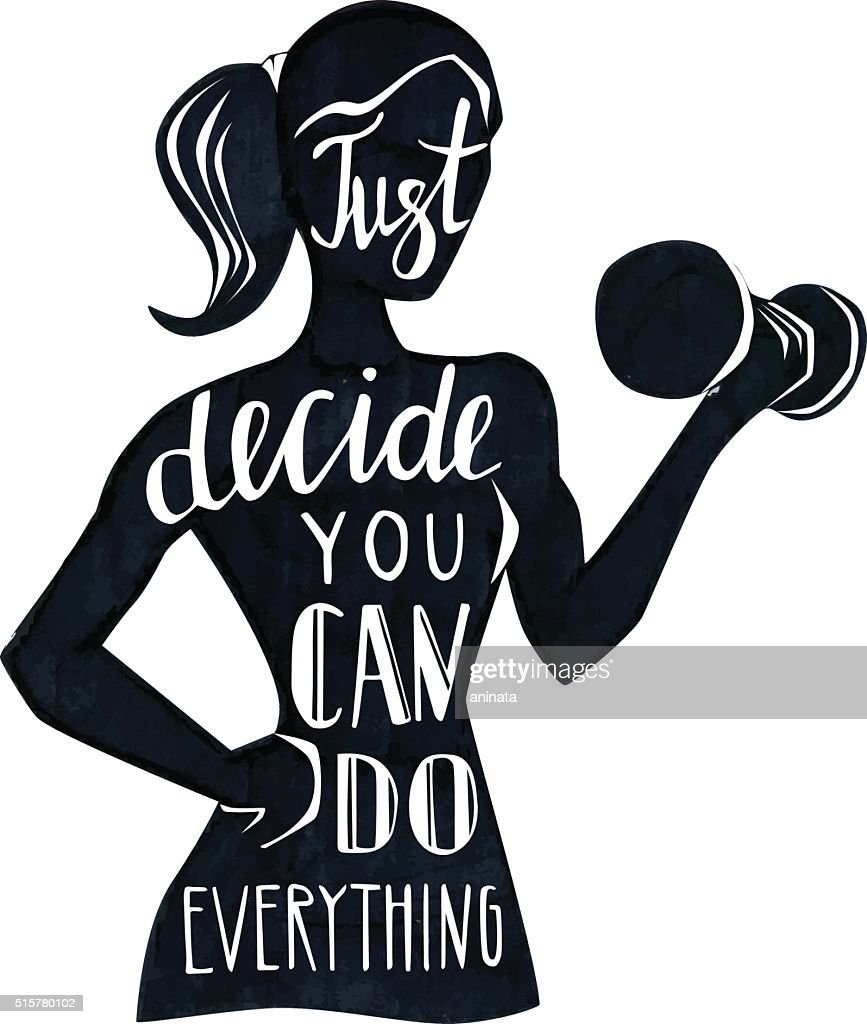 Motivational fitness illustration with female silhouette and lettering