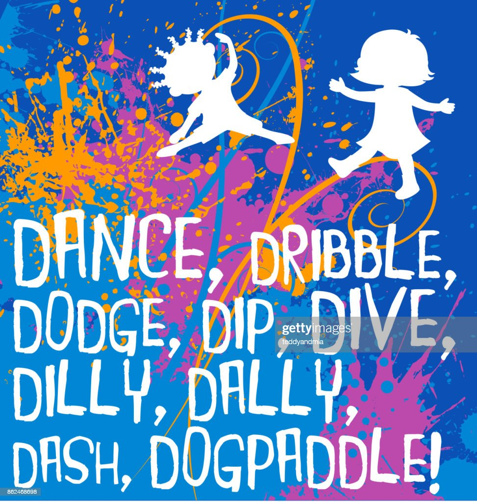 Motivational Fitness Poster With Cartoon Kids And Playful Action Words Colorful Spattered Background