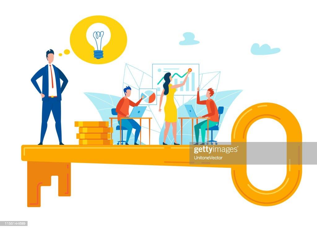 Motivational Flyer Key Selection Strategy Flat. : stock illustration