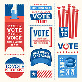 Motivational messages and design elements to promote voter participation in future United States elections.