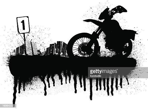 ilustraciones, imágenes clip art, dibujos animados e iconos de stock de motocross la ciudad - motocross
