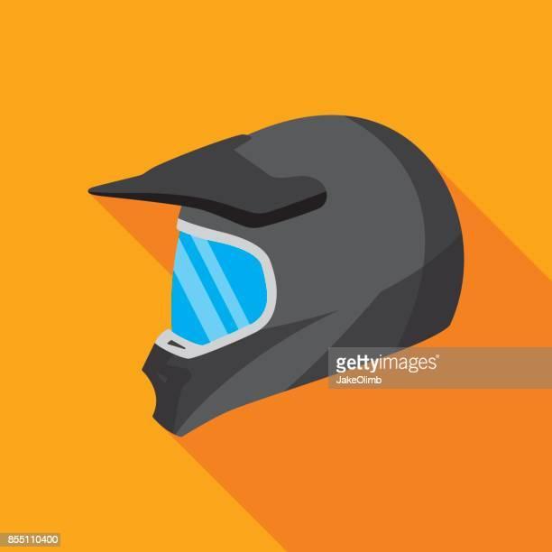 motocross helmet icon flat - helmet visor stock illustrations, clip art, cartoons, & icons