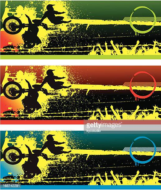 motocross jump and a cheering crowd - motocross stock illustrations, clip art, cartoons, & icons
