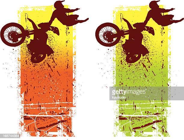 ilustraciones, imágenes clip art, dibujos animados e iconos de stock de corredor de motocross en el aire - motocross