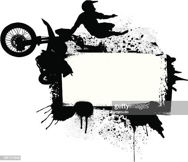 ilustraciones, imágenes clip art, dibujos animados e iconos de stock de piloto de motocross en el aire - motocross