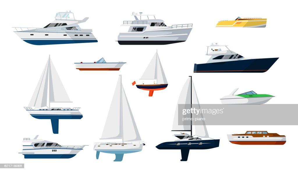 Motor boat and sailboat set