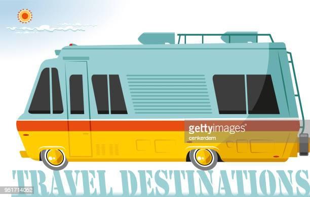 illustrations, cliparts, dessins animés et icônes de autocaravane - camping car