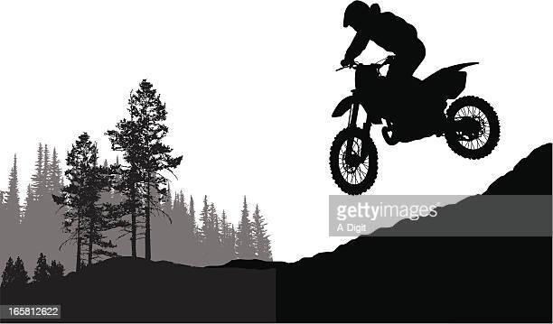 ilustraciones, imágenes clip art, dibujos animados e iconos de stock de motorjumping - motocross