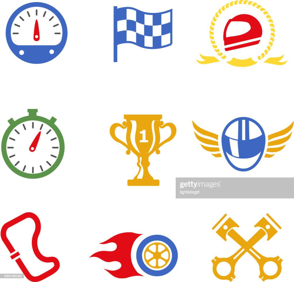 Motor race formula icons set