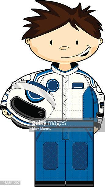 motor racing driver holding helmet - motorcycle helmet isolated stock illustrations, clip art, cartoons, & icons