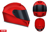 Motor racing helmet with glass visor.