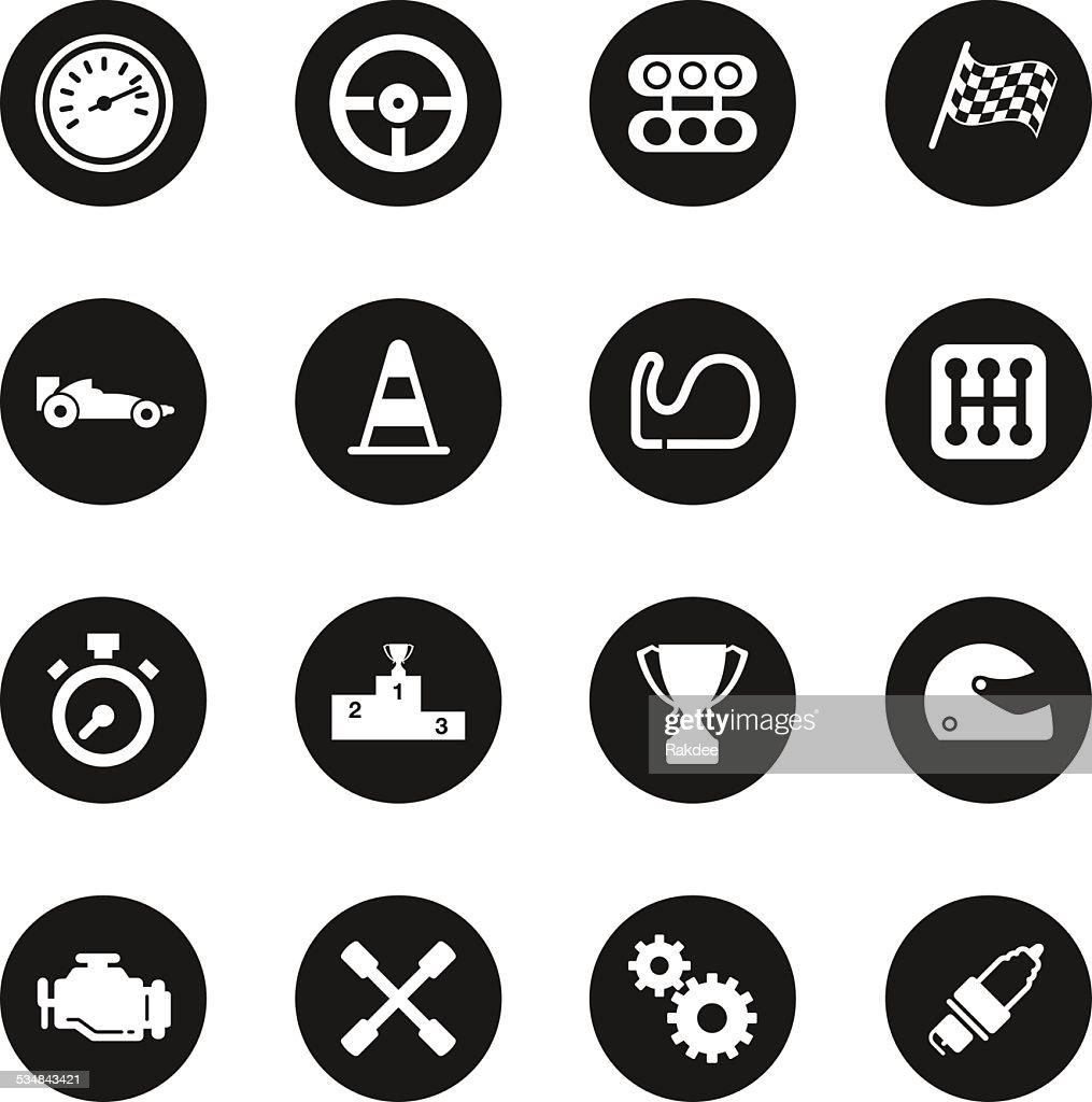 Motor Racing Icons - Black Circle Series : stock illustration