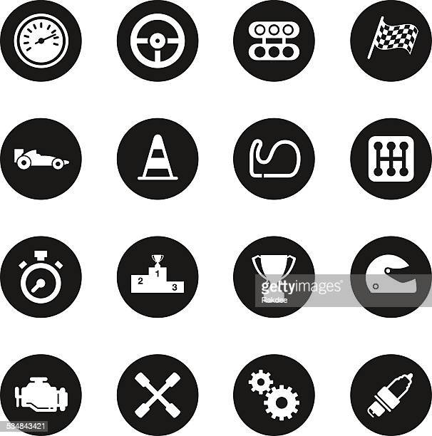 motor racing icons - black circle series - motorcycle helmet isolated stock illustrations, clip art, cartoons, & icons