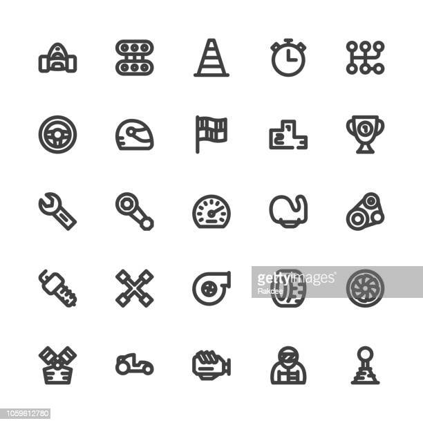 motor racing icons - bold line series - race car driver stock illustrations, clip art, cartoons, & icons