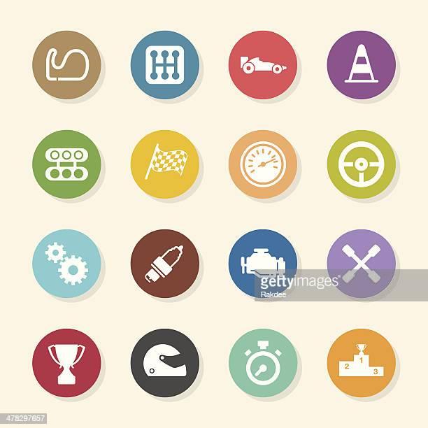 motor racing icons - color circle series - formula one racing stock illustrations, clip art, cartoons, & icons