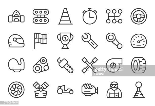 motor racing icons - light line series - race car driver stock illustrations, clip art, cartoons, & icons