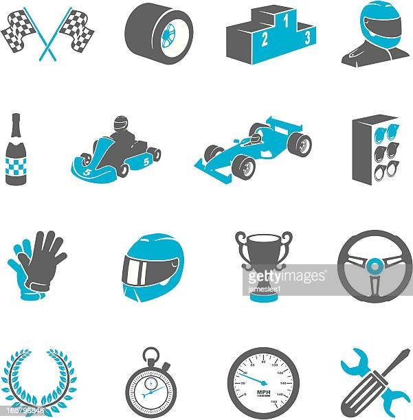motor racing icons - race car stock illustrations, clip art, cartoons, & icons