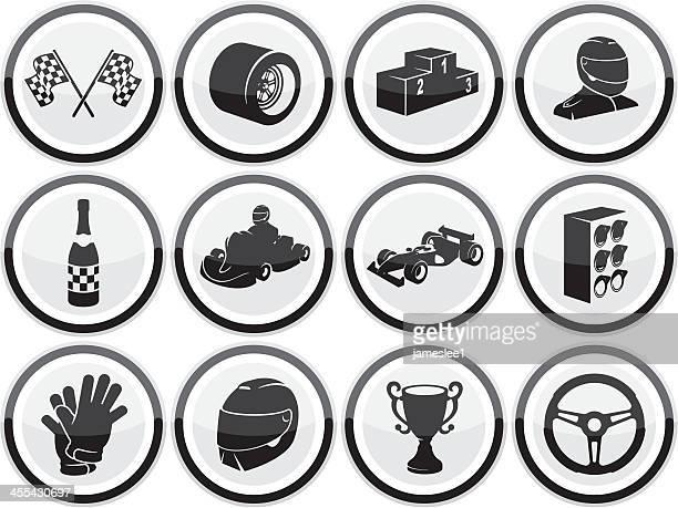 motor racing icons - race car driver stock illustrations, clip art, cartoons, & icons
