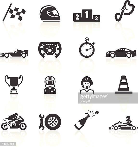 motor racing icons - sports race stock illustrations