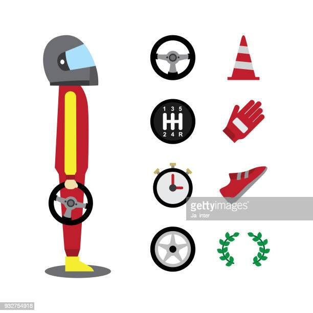 motor racing icons - go carting stock illustrations, clip art, cartoons, & icons
