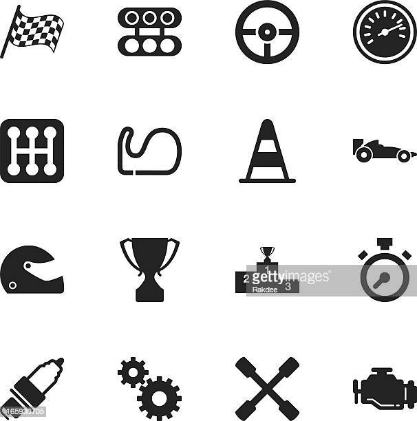 motor racing silhouette icons - motorcycle helmet isolated stock illustrations, clip art, cartoons, & icons