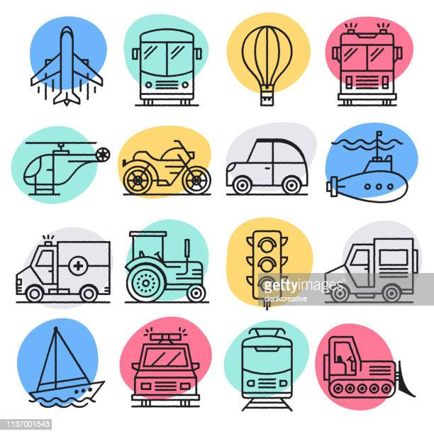 motor vehicle emissions doodle style vector icon set - train vehicle stock illustrations