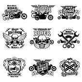 Motorbike club vintage vector patches. Motorcycle racing labels and emblems