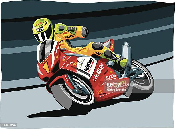 motorbike racing - motorcycle rider stock illustrations, clip art, cartoons, & icons