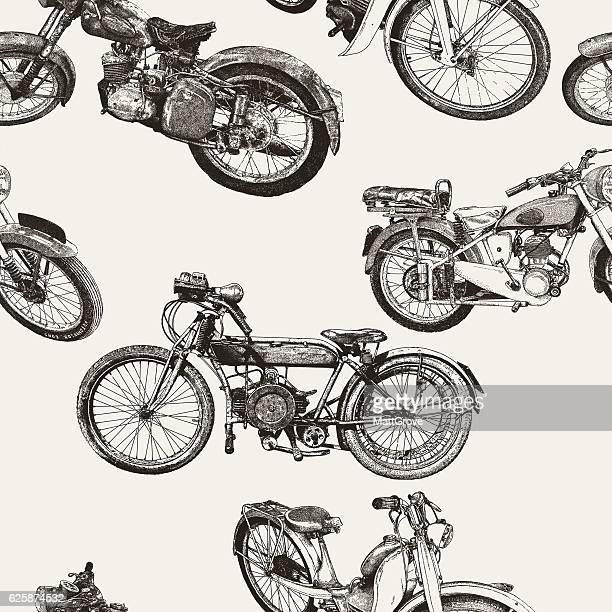 motorbike repeat pattern - motorcyclist stock illustrations, clip art, cartoons, & icons