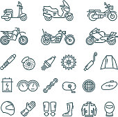 Motorcycle, auto parts and motorbike accessories vector line icons