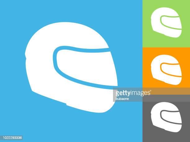 illustrations, cliparts, dessins animés et icônes de icône plate de casque de moto sur fond bleu - casque de moto
