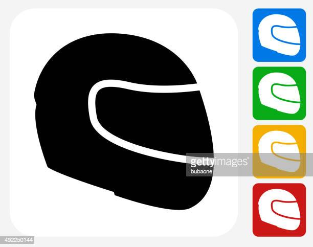 motorcycle helmet icon flat graphic design - motorcycle helmet isolated stock illustrations, clip art, cartoons, & icons