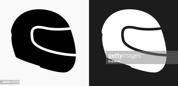 motorcycle helmet icon on black and white vector backgrounds - motorcycle helmet stock illustrations, clip art, cartoons, & icons