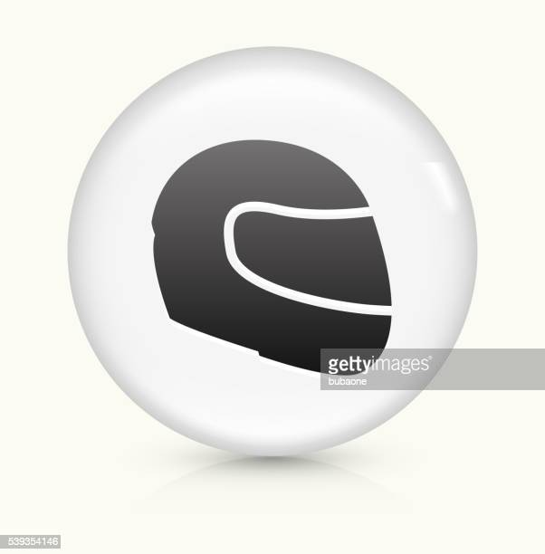 motorcycle helmet icon on white round vector button - biker helmet stock illustrations, clip art, cartoons, & icons