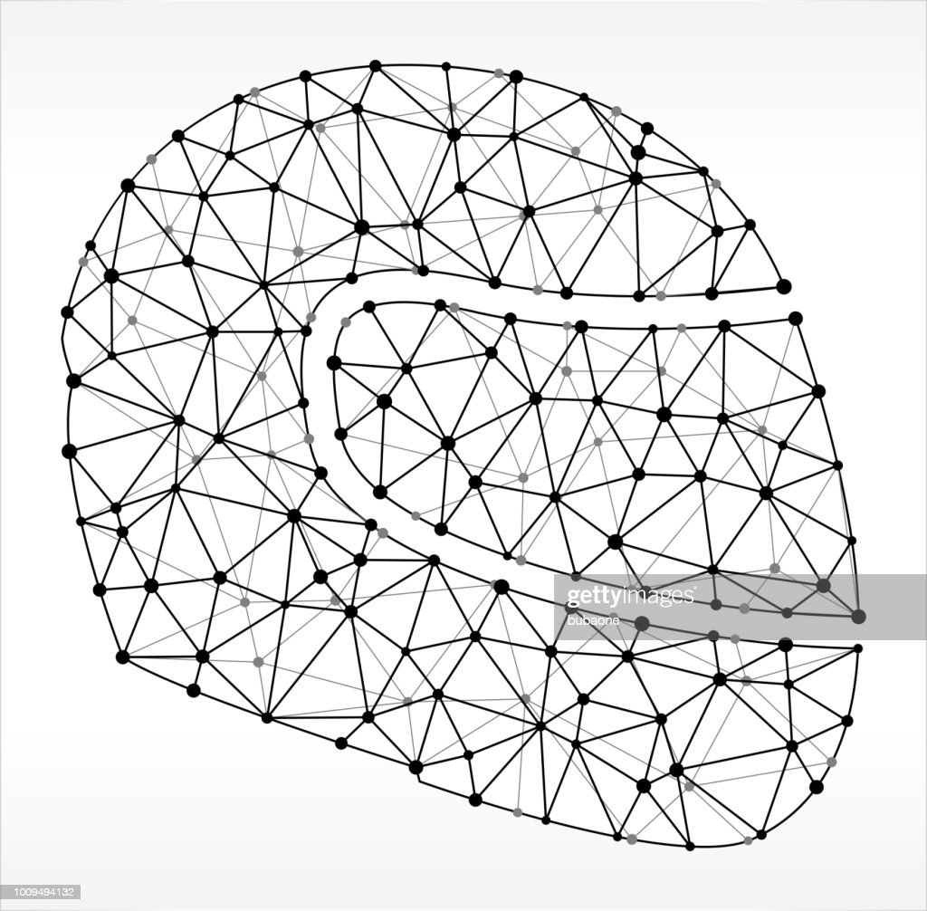 Motorcycle Helmet Triangle Node Black and White Pattern : Stock Illustration
