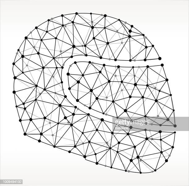 motorcycle helmet triangle node black and white pattern - motorcycle helmet stock illustrations, clip art, cartoons, & icons