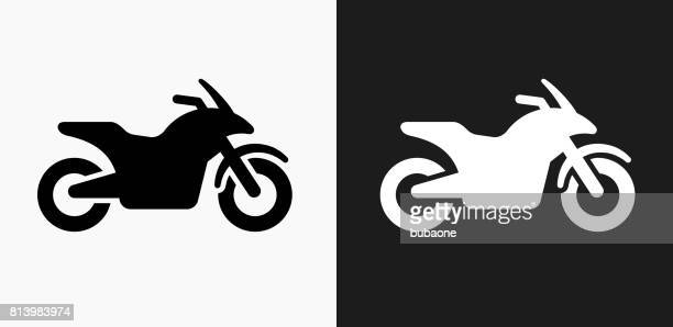 Motorcycle Icon on Black and White Vector Backgrounds