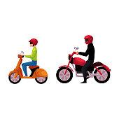 Motorcycle, motorbike and scooter drivers, riders wearing helmet, side vew