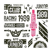 Motorcycle races club badges in retro style