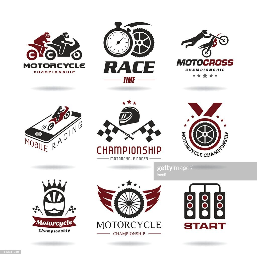 Motorcycle racing icon set