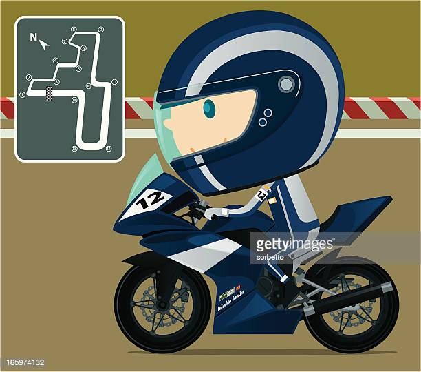 motorcycle racing - race car driver stock illustrations, clip art, cartoons, & icons