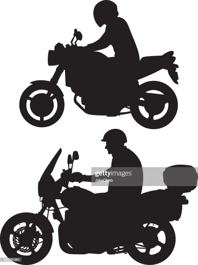 Motorcycle Rider Silhouettes : stock illustration
