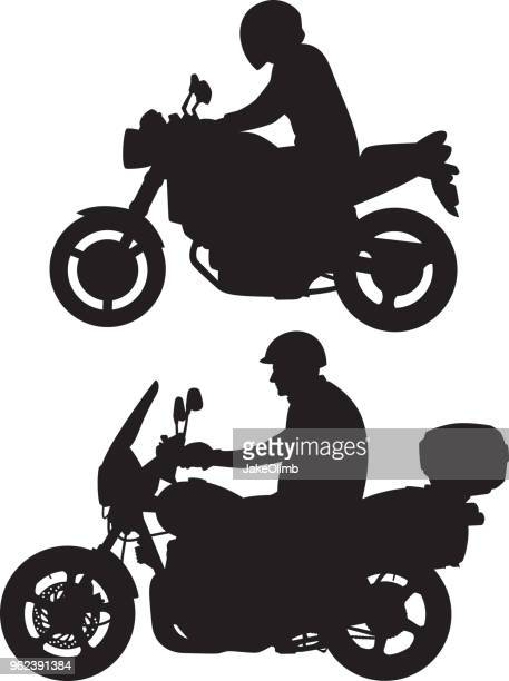 motorcycle rider silhouettes - motorcycle rider stock illustrations, clip art, cartoons, & icons