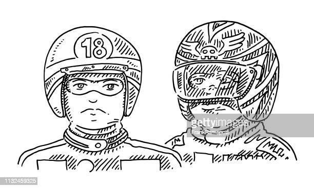 ilustraciones, imágenes clip art, dibujos animados e iconos de stock de motociclistas dibujo de casco - piloto de coches de carrera